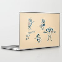 workout Laptop & iPad Skins featuring Pug Workout by Huebucket