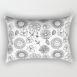 Doodle floral pattern Rectangular Pillow