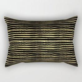 Gold and black stripes minimal modern painted abstract painting minimalist decor nursery Rectangular Pillow