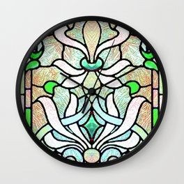 Delicate Stained-glass in Victorian Green Detail Wall Clock