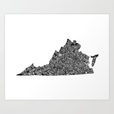 Typographic Virginia Art Print