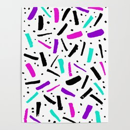 Neon colored confetti design in pink, black, purple and cyan colors Poster