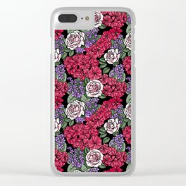 Chevron Floral Black Clear iPhone Case