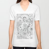 floral pattern V-neck T-shirts featuring Floral Pattern by Coffee and Pen