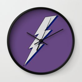 Just Me and My Shadow Lightning Bolt - Purple Background Wall Clock