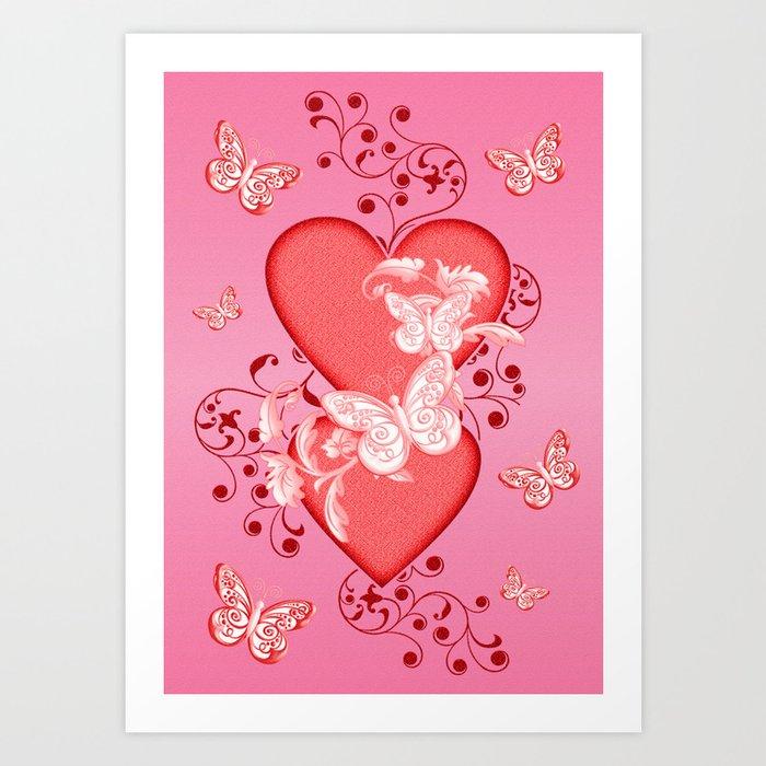 Butterflies and Hearts Art Print