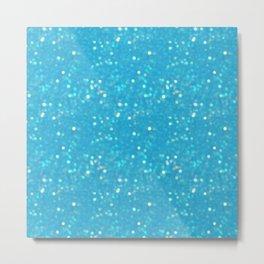 Soft Blue Glimmering Sparkles Metal Print