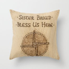 Brigid's Cross Blessing Woodburned Plaque Throw Pillow