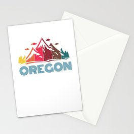 Retro Oregon Mountain Design for Men Women and Kids Stationery Cards