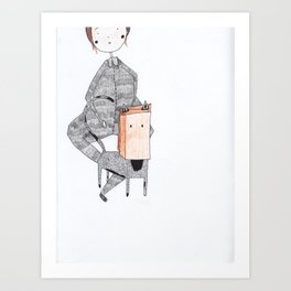cat in a bag Art Print
