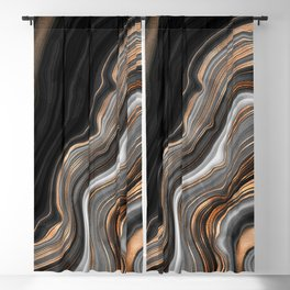 Elegant black marble with gold and copper veins Blackout Curtain
