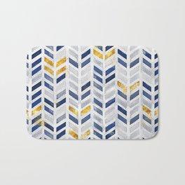 Herringbone chevron pattern.Indigo faux gold acrylic canvas Bath Mat