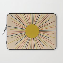 Mid-Century Modern Sunburst - Minimalist Abstract Sun in Mid Mod Mustard, Orange, Olive, Blue, and Beige Laptop Sleeve