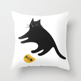 Black Cat Knows You Have More Throw Pillow