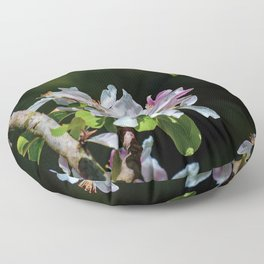 Pollinating Bee visiting the flowers Floor Pillow