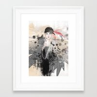 fashion illustration Framed Art Prints featuring FASHION ILLUSTRATION 12 by Justyna Kucharska