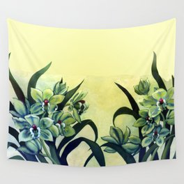 Green Orchids Triptych Wall Tapestry
