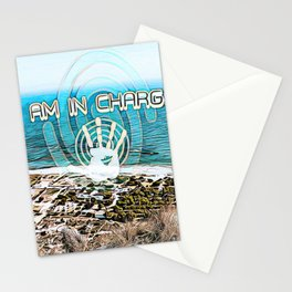 """""""I am in charge"""" with the sea coast Stationery Cards"""