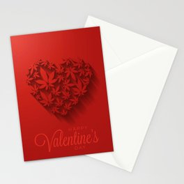 Happy Valentine's day with heart and cannabis leaves Stationery Cards