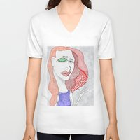 polka dot V-neck T-shirts featuring POLKA DOT by The Bravo Sisters Art