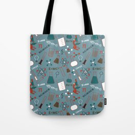 Blue Science and Math Icons Tote Bag