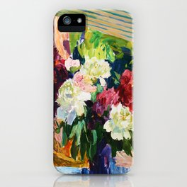 Peonies and lupins iPhone Case