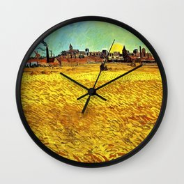 Sunset at Wheat Field by Vincent van Gogh Wall Clock