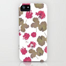 seamless   pattern of geranium flowers . Endless texture iPhone Case
