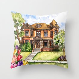 Victorian Mansion in the Spring Throw Pillow