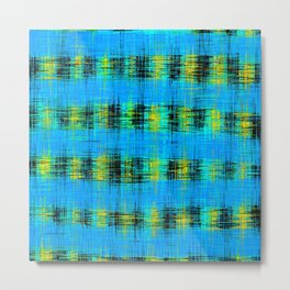 plaid pattern abstract texture in blue yellow black Metal Print