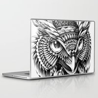 bioworkz Laptop & iPad Skins featuring Ornate Owl Head by BIOWORKZ