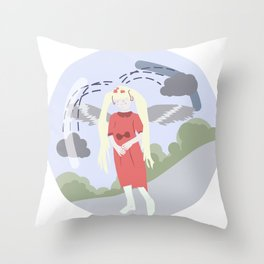 Nature-girl in globe Throw Pillow