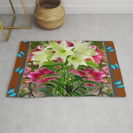 BLUE BUTTERFLIES WHITE LILIES COFFEE BROWN FLORAL ART Rug
