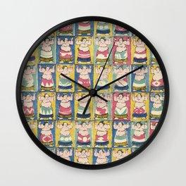 Sumo Wrestlers Japanese Vintage Print Wall Clock