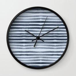 Simply Shibori Stripes Indigo Blue on Sky Blue Wall Clock