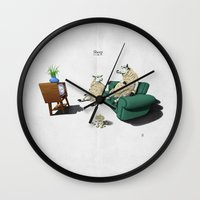 sheep Wall Clocks featuring Sheep by rob art | illustration