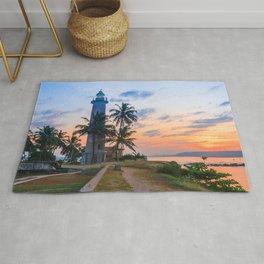 Galle fort lighthouse at sunrise, Galle, Sri Lanka Rug
