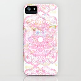 Pastel pink mandala ornament design iPhone Case