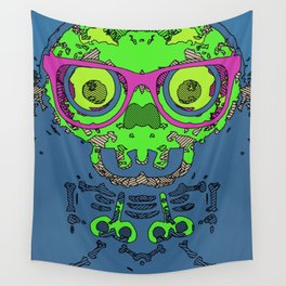 green funny skull art portrait with pink glasses and blue background Wall Tapestry