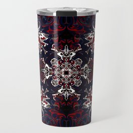 Psychedelic Black, Red and White Pattern Travel Mug