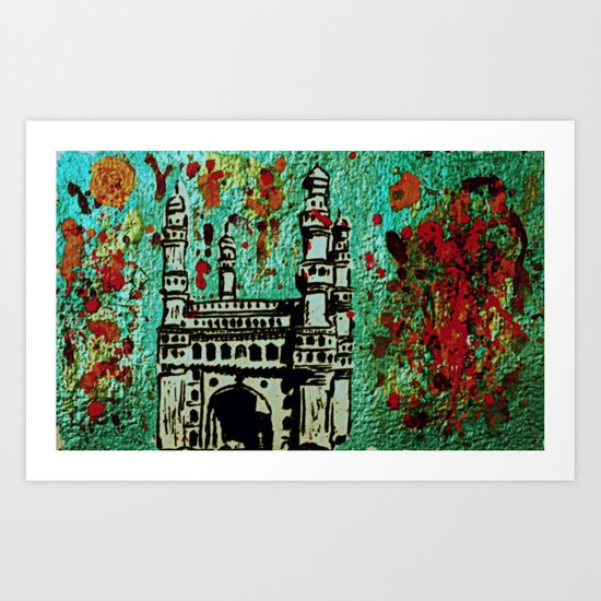 A Colour Riot at Charminar Art Print