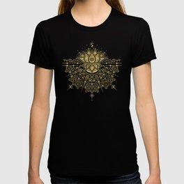 Sacred Lotus Mandala – Navy & Gold Palette T-shirt
