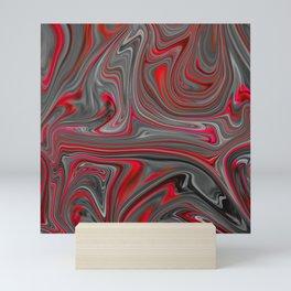 Red and Gray Liquid Marble Swirling Pattern Texture Artwork #4 Mini Art Print