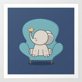 Kawaii Cute Elephant On A Couch Art Print