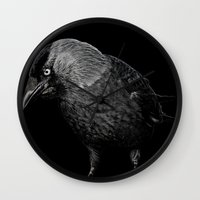 crow Wall Clocks featuring crow by laurxy