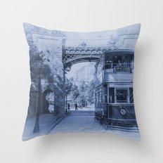 Tram 40 in blue Throw Pillow