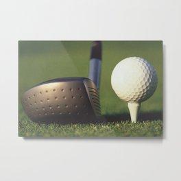Golf Club and Ball on Tee Metal Print