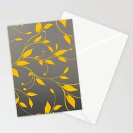 FLOWERY VINES | grey yellow Stationery Cards