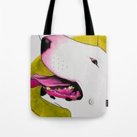 bull terrier Tote Bags featuring Bull Terrier by Erin Shea