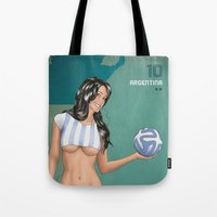 argentina Tote Bags featuring Argentina by Kingdom Of Calm - Print On Demand